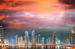 Dubai Marina skyscrapers reflections at sunset, UAE Stock Photography