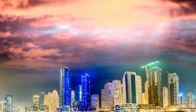 Dubai Marina skyscrapers reflections at sunset, UAE Royalty Free Stock Image