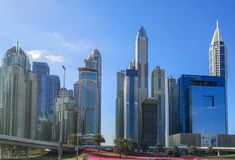 Dubai Marina skyscrapers and towers, modern Tourist attractions at the United Arab Emirates.  stock photo