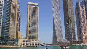 Dubai marina summer day gulf buildings panorama 4k uae stock video footage