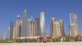 Dubai marina summer time beach buildings panorama 4k uae stock footage