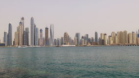 Dubai marina summer time day bay buildings palm panorama 4k uae stock footage