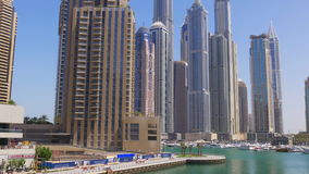 Dubai marina sunny day buildings panorama 4k uae stock video