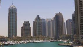 Dubai marina sunny day gulf panorama 4k uae. Uae dubai marina sunny day gulf panorama 4k stock footage