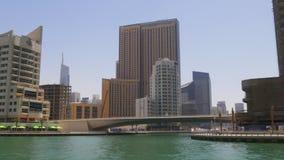 Dubai marina sunny day gulf panoramic view 4k uae. Uae dubai marina sunny day gulf panoramic view 4k stock footage