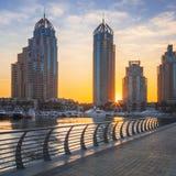 Dubai marina at sunrise Stock Photography