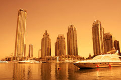 Dubai Marina during sunset Royalty Free Stock Images