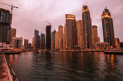 Dubai Marina in the sunset Royalty Free Stock Image