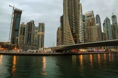 Dubai Marina in the sunset Royalty Free Stock Photos