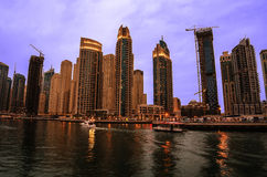 Dubai Marina in the sunset Royalty Free Stock Images