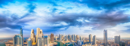 Dubai Marina at sunset, aerial view Royalty Free Stock Photography
