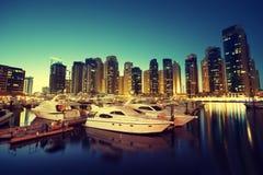Dubai Marina at sunset, UAE Stock Photo