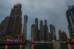 Dubai Marina in the sunset Stock Photos