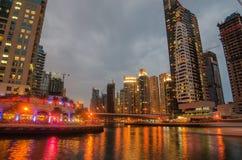 Dubai Marina in the sunset Royalty Free Stock Photography