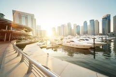 Dubai Marina at sunset Stock Photo