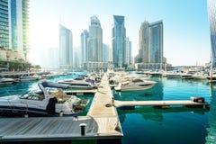 Dubai Marina at sunset Stock Images