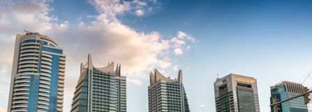 Dubai Marina tall buildings at sunset Stock Photography