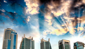 Dubai Marina tall buildings at sunset Stock Photo