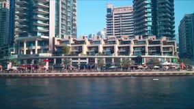 Dubai marina tourist area 4k time lapse stock video