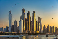 Dubai Marina Towers. With balloons in the air on the UAE National day Royalty Free Stock Image