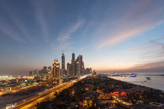 Dubai Marina Towers at night Royalty Free Stock Photo