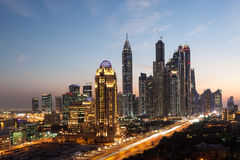 Dubai Marina Towers at night. Dubai Marina Towers illuminated at night. Dubai, United Arab Emirates Stock Photos
