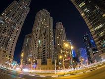 Dubai Marina Traffic Junction Night Stock Photo