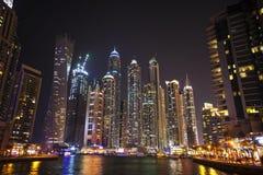 Dubai marina during twilight Royalty Free Stock Photos