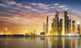 Dubai marina during twilight. Dubai Marina skyline as seen from Palm Jumeirah Stock Photography