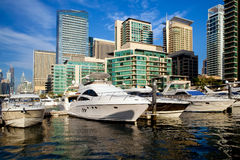Dubai marina in UAE. Dubai marina with luxury yachts in UAE Royalty Free Stock Photography