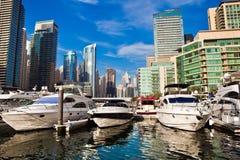 Dubai marina in UAE. Dubai marina with luxury yachts in UAE Stock Images