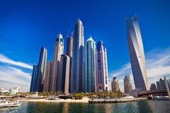 Dubai marina in UAE. Dubai marina with luxury yachts in UAE stock photography