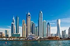 Dubai marina in UAE. Dubai marina with luxury yachts in UAE Royalty Free Stock Image