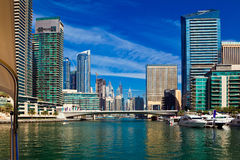 Dubai marina in UAE. Dubai marina with luxury yachts in UAE Royalty Free Stock Images