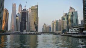Dubai Marina, United Arab Emirates. The largest man-made marina in the world. Timelapse video stock footage