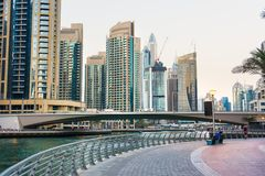 Dubai marina view at dusk with skyscrapers and calm water Royalty Free Stock Images