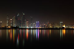 Dubai marina view at night Stock Photography