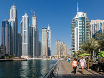 Dubai Marina Walk in the Marina District of Dubai Royalty Free Stock Photo