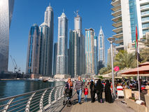 Dubai Marina Walk in the Marina District of Dubai Stock Photo