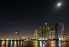 Dubai Marina waterfront in moonlight. May 2017 Royalty Free Stock Photo