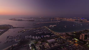 Dubai Marina wide angle Panorama from day to night stock footage