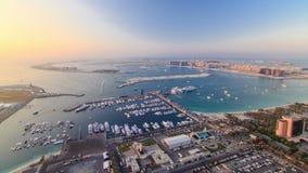 Dubai Marina wide angle Panorama evening time at stock video
