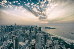 Dubai Marina Winter Sunset. View of Dubai Marina from rooftop Stock Image