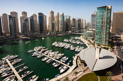 Dubai Marina. The Yacht Club and the 'JBR' in the background Stock Photo