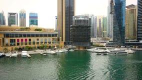 Dubai marina yacht dock time lapse Stock Images