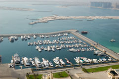 Dubai Marina yacht parking Stock Image