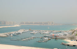 Dubai Marina yacht parking and Jumeirah Palm Stock Photo