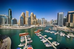 Dubai marinasikt Royaltyfri Fotografi