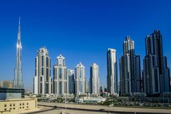 DUBAI -MAY 11:Down town - group of buildings in Dubai down town, part of Business crossing project . 11 May 2017 , Dubai, UAE. DUBAI -MAY 11:Down town - group Stock Photo