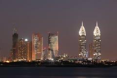 Dubai Media City at night stock photography